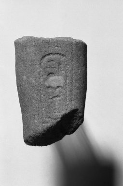 <em>Fragmentary Shabti of Akhenaten</em>, ca. 1352-1336 B.C.E. Sandstone, 2 3/8 x width at top 1 5/8 in. (6.1 x 4.2 cm). Brooklyn Museum, Charles Edwin Wilbour Fund, 37.554. Creative Commons-BY (Photo: Brooklyn Museum, 37.554_bw.jpg)