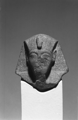 <em>Fragmentary Shabti of Akhenaten</em>, ca. 1352-1336 B.C.E. Quartzite (?), 2 11/16 x 2 13/16 in. (6.8 x 7.2 cm). Brooklyn Museum, Charles Edwin Wilbour Fund, 37.557. Creative Commons-BY (Photo: Brooklyn Museum, 37.557_front_bw.jpg)