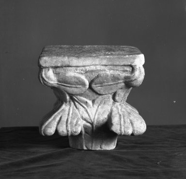 Unknown. <em>Column capital</em>, 13th century. Marble, H: 8 1/8 in. (20.6 cm). Brooklyn Museum, Gift of Marvin Chauncey Ross, 37.564a-b. Creative Commons-BY (Photo: Brooklyn Museum, 37.564_view1_acetate_bw.jpg)