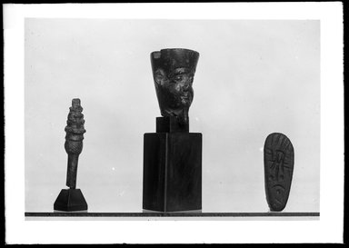 <em>Top of Hairpin or Stylus in the Form of a Lotus Column</em>. Steatite, Total height: 1 7/8 in. (4.8 cm). Brooklyn Museum, Charles Edwin Wilbour Fund, 37.922E. Creative Commons-BY (Photo: , 37.581E_37.922E_37.1213E_GrpA_SL4.jpg)