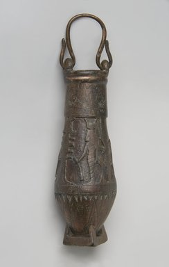 <em>Situla with Religious Scenes in Raised Relief</em>, 305-30 B.C.E. Bronze, gold, 5 3/16 x Diam. 1 3/4 in. (13.1 x 4.4 cm). Brooklyn Museum, Charles Edwin Wilbour Fund, 37.582E. Creative Commons-BY (Photo: Brooklyn Museum, 37.582E_PS11.jpg)