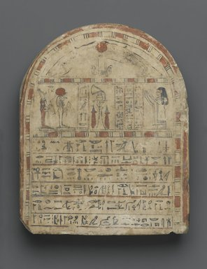 Egyptian. <em>Grave Stela of Nehemes-Ra-tawy</em>, ca. 760-525 B.C.E. Limestone, pigment, 10 3/8 x 8 3/8 x 2 1/2 in., 13 lb. (26.4 x 21.3 x 6.4 cm, 5.9kg). Brooklyn Museum, Charles Edwin Wilbour Fund, 37.588E. Creative Commons-BY (Photo: Brooklyn Museum, 37.588E_PS1.jpg)