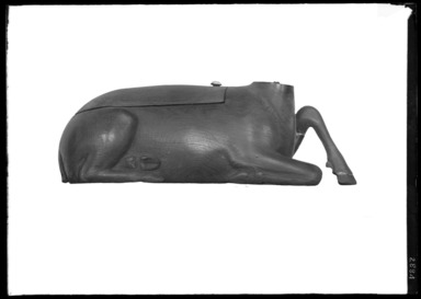 <em>Cosmetic Container in Form of Recumbent Gazelle</em>, ca. 1539-1292 B.C.E. Wood, ivory, 2 9/16 x 2 1/2 x 7 11/16 in. (6.5 x 6.4 x 19.5 cm). Brooklyn Museum, Charles Edwin Wilbour Fund, 37.601E. Creative Commons-BY (Photo: Brooklyn Museum, 37.601E_NegC_SL4.jpg)