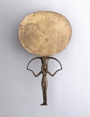 <em>Mirror</em>, ca. 1478-1390 B.C.E. Silver and copper alloy, 9 3/4 x diam. 5 1/2 in. (24.7 x 14 cm). Brooklyn Museum, Charles Edwin Wilbour Fund, 37.635E. Creative Commons-BY (Photo: Brooklyn Museum, 37.635E_SL1.jpg)
