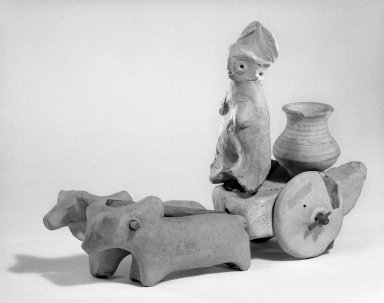 Indus Valley Culture. <em>Small Model of Bullock or Humped Ox</em>, ca. 2500 B.C.E. Hand-modeled terracotta, 1 3/4 x 1 3/16 x 3 9/16 in. (4.5 x 3 x 9 cm). Brooklyn Museum, A. Augustus Healy Fund, 37.97. Creative Commons-BY (Photo: , 37.63_37.92-.94_37.96_37.97_37.106_bw.jpg)