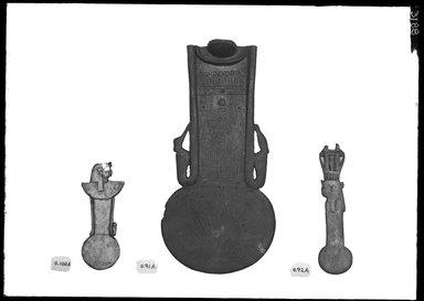 <em>Menat</em>, 664-343 B.C.E. Bronze, 1 9/16 × 3 15/16 in. (4 × 10 cm). Brooklyn Museum, Charles Edwin Wilbour Fund, 37.699E. Creative Commons-BY (Photo: , 37.698E_37.699E_37.1586_GrpA_SL4.jpg)