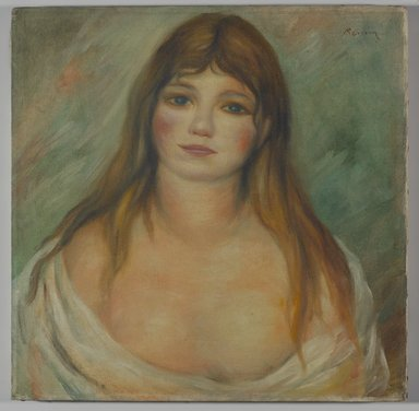 After Pierre-Auguste Renoir (French, 1841-1919). <em>Head of a Girl</em>. Oil on canvas, 16 x 16 1/16in. (40.6 x 40.8cm). Brooklyn Museum, Carll H. de Silver Fund, 37.6 (Photo: Brooklyn Museum, 37.6_PS9.jpg)
