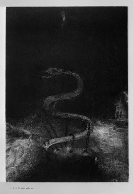 Odilon Redon (French, 1840-1916). <em>Apocalypse de Saint-Jean</em>, 1899. Lithograph on China paper laid down, 11 3/4 x 8 1/4 in. (29.8 x 21 cm). Brooklyn Museum, By exchange, 37.7.10 (Photo: Brooklyn Museum, 37.7.10_acetate_bw.jpg)