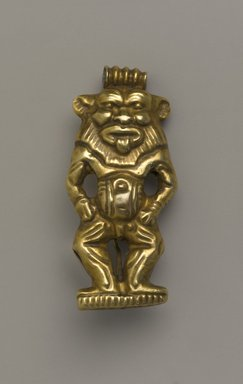 <em>Amulet in the Form of the God Bes</em>, ca. 1390-1322 B.C.E. Gold, 1 7/16 x 11/16 x 3/8 in. (3.6 x 1.7 x 1 cm). Brooklyn Museum, Charles Edwin Wilbour Fund, 37.710E. Creative Commons-BY (Photo: Brooklyn Museum, 37.710E_front_PS4.jpg)