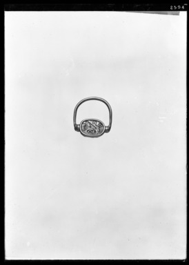 <em>Scarab of Thutmose III Mounted in Ring</em>, ca. 1479-1425 B.C.E. Steatite, glaze, gold, 1 1/16 × 15/16 in. (2.7 × 2.4 cm). Brooklyn Museum, Charles Edwin Wilbour Fund, 37.720E. Creative Commons-BY (Photo: Brooklyn Museum, 37.720E_NegA_SL4.jpg)
