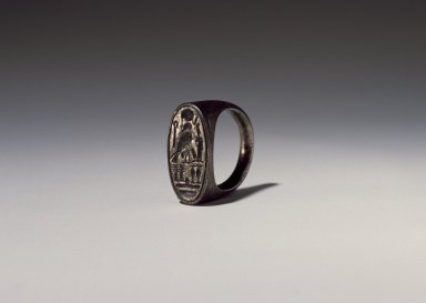 <em>Ring of Ramesses IV</em>, ca. 1152-1145 B.C.E. Silver, Width: 7/8 in. (2.3 cm) . Brooklyn Museum, Charles Edwin Wilbour Fund, 37.727E. Creative Commons-BY (Photo: Brooklyn Museum, 37.727E_SL3.jpg)