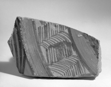 Jhukar. <em>Fragment of Broad Shallow Vessel</em>, ca. 2000 B.C.E. Red pottery with red and black slip-painted decoration, 3 1/4 x 5 1/2 in. (8.3 x 14 cm). Brooklyn Museum, A. Augustus Healy Fund, 37.73. Creative Commons-BY (Photo: Brooklyn Museum, 37.73_bw.jpg)