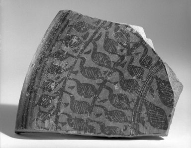 Indus Valley Culture. <em>Fragment of Large Deep Vessel</em>, ca. 2000 B.C.E. Red pottery with red and black slip-painted decoration, 4 15/16 x 6 1/8 in. (12.5 x 15.5 cm). Brooklyn Museum, A. Augustus Healy Fund, 37.74. Creative Commons-BY (Photo: Brooklyn Museum, 37.74_bw.jpg)