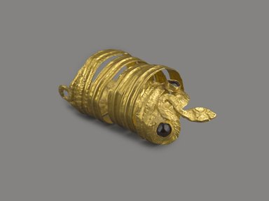 Greek. <em>Ring in the Form of a Coiled Serpent</em>, 3rd century B.C.E. Gold, glass, Diameter 3/4 x Length 1 3/4 in. (1.9 x 4.4 cm). Brooklyn Museum, Charles Edwin Wilbour Fund, 37.785E. Creative Commons-BY (Photo: Brooklyn Museum, 37.785E_view1_PS9.jpg)