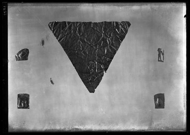 <em>Triangular Piece of Sheet Gold from a Mummy</em>. Gold Brooklyn Museum, Charles Edwin Wilbour Fund, 37.856E. Creative Commons-BY (Photo: , 37.797E_37.824E_37.826E_37.827E_37.856E_GrpB_SL4.jpg)