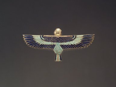 <em>Ba Amulet</em>, 305-30 B.C.E. Gold, lapis lazuli, turquoise, steatite, 1 1/4 x 2 11/16 x 3/8 in. (3.1 x 6.8 x 0.9 cm). Brooklyn Museum, Charles Edwin Wilbour Fund, 37.804E. Creative Commons-BY (Photo: Brooklyn Museum, 37.804E.jpg)