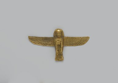 <em>Ba Amulet</em>, 664-343 B.C.E. Gold, 7/8 x 1 5/8 x 1/4 in. (2.2 x 4.2 x 0.6 cm). Brooklyn Museum, Charles Edwin Wilbour Fund, 37.805E. Creative Commons-BY (Photo: Brooklyn Museum, 37.805E_front_PS2.jpg)