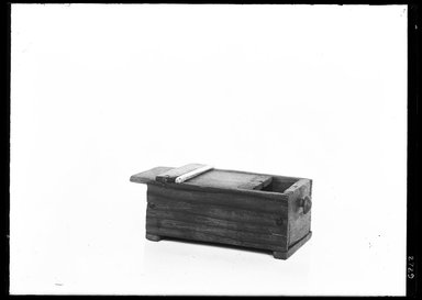 <em>Small Box with Separate Cover</em>. Wood (Dicotyledon and Cotyledon), ivory, paint, 1 x 1 1/2 x 2 7/16 in. (2.5 x 3.8 x 6.2 cm). Brooklyn Museum, Charles Edwin Wilbour Fund, 37.844E. Creative Commons-BY (Photo: Brooklyn Museum, 37.844E_NegA_SL4.jpg)