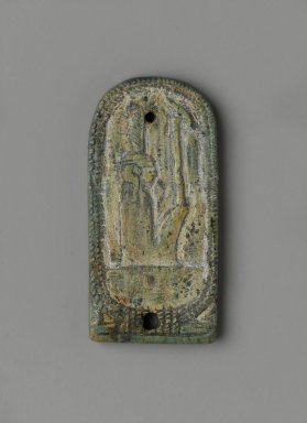 <em>Inscribed Plaque with the Cartouche of Amunhotep III</em>, ca. 1390-1352 B.C.E., or later. Steatite, glaze, 1 5/8 x 13/16 x 1/8 in. (4.2 x 2 x 0.3 cm). Brooklyn Museum, Charles Edwin Wilbour Fund, 37.865E. Creative Commons-BY (Photo: Brooklyn Museum, 37.865E_front_PS2.jpg)