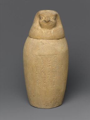 <em>Canopic Jar and Lid (Depicting a Hawk)</em>, 664-404 B.C.E. Limestone, 10 1/4 in. (26 cm) high x 4 1/2 in. (11.4 cm) diameter. Brooklyn Museum, Charles Edwin Wilbour Fund, 37.895Ea-b. Creative Commons-BY (Photo: Brooklyn Museum, 37.895Ea-b_front_PS1.jpg)