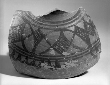 Indus Valley Culture. <em>Fragment of Medium-sized Vessel</em>, ca. 2500 B.C.E. Red pottery with slip-painted decoration, 4 5/16 x 5 7/8 in. (11 x 15 cm). Brooklyn Museum, A. Augustus Healy Fund, 37.90. Creative Commons-BY (Photo: Brooklyn Museum, 37.90_bw.jpg)