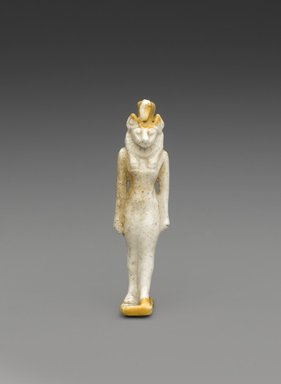 <em>Amulet of a Striding Lion-Headed Goddess</em>, ca. 1075-30 B.C.E. Faience, 2 3/16 x 9/16 x 9/16 in. (5.5 x 1.5 x 1.5 cm). Brooklyn Museum, Charles Edwin Wilbour Fund, 37.930E. Creative Commons-BY (Photo: Brooklyn Museum, 37.930E_PS9.jpg)