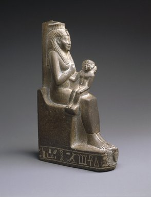 <em>Isis Nursing the Child Horus</em>, ca. 664-525 B.C.E. Slate, 7 1/2 x 1 5/8 x 4 1/4 in. (19.1 x 4.1 x 10.8 cm). Brooklyn Museum, Charles Edwin Wilbour Fund, 37.938E. Creative Commons-BY (Photo: Brooklyn Museum, 37.938E_threequarter_SL1.jpg)