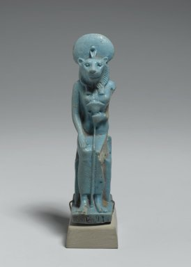 <em>Figure of Sekhmet Seated</em>, 305-30 B.C.E. Faience, 3 7/8 x 1 x 1 9/16 in. (9.9 x 2.5 x 4 cm). Brooklyn Museum, Charles Edwin Wilbour Fund, 37.944E. Creative Commons-BY (Photo: Brooklyn Museum, 37.944E_front_PS2.jpg)