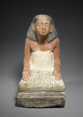 <em>Seated Statuette of Si-Hathor</em>, ca. 1818-1630 B.C.E. Limestone, pigment, 10 1/4 x 6 x 7 5/8 in. (26 x 15.2 x 19.4 cm). Brooklyn Museum, Charles Edwin Wilbour Fund, 37.97E. Creative Commons-BY (Photo: Brooklyn Museum, 37.97E_front_PS2.jpg)