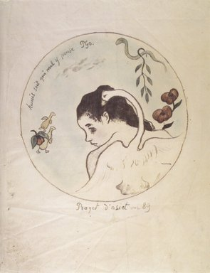 Paul Gauguin (French, 1848-1903). <em>Leda (Design for a China Plate) (Leda [Projet d'assiette])</em>, 1889. Hand-colored zincograph on China paper, Image (Diameter): 8 in. (20.3 cm). Brooklyn Museum, Museum Collection Fund, 38.116 (Photo: Brooklyn Museum, 38.116_transp1361.jpg)