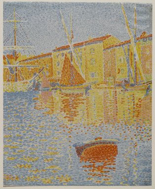 Paul Signac (French, 1863-1935). <em>Harbour Scene</em>, ca. 1894. Lithograph in six colors on wove paper, 15 3/4 × 12 3/4 in. (40 × 32.4 cm). Brooklyn Museum, By exchange, 38.118 (Photo: Brooklyn Museum, 38.118_PS4.jpg)