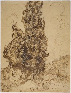 Vincent van Gogh (Dutch, 1853-1890). <em>Cypresses (Les Cyprès)</em>, June 1889. Brown ink and graphite on wove Latune et Cie Balcons paper, 24 3/8 x 18 5/8 in. (61.9 x 47.3 cm). Brooklyn Museum, Frank L. Babbott Fund and A. Augustus Healy Fund, 38.123 (Photo: Brooklyn Museum, 38.123_SL1.jpg)