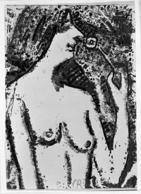 Christian Rohlfs (German, 1849-1939). <em>Half-Length Nude with Flower (Halbakt mit Blüte)</em>, 1910. Color woodcut in shades of brown and black on wove paper, Image: 4 3/8 x 3 1/4 in. (11.1 x 8.3 cm). Brooklyn Museum, By exchange, 38.129 (Photo: Brooklyn Museum, 38.129_bw_IMLS.jpg)