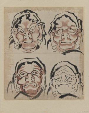 Katsushika Hokusai (Japanese, 1760-1849). <em>Sketch of Four Faces</em>, 1760-1849. Ink on paper, 10 5/8 x 9 1/8 in. (27 x 23.2 cm). Brooklyn Museum, Designated Purchase Fund, 38.154 (Photo: Brooklyn Museum, 38.154_IMLS_PS3.jpg)