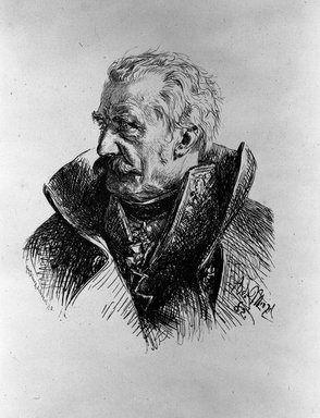 Adolf Friedrich Erdmann von Menzel (German, 1815-1905). <em>Portrait of  Blücher</em>, 1882. Wood engraving on China paper, Image: 6 7/8 x 5 11/16 in. (17.4 x 14.5 cm). Brooklyn Museum, By exchange, 38.173 (Photo: Brooklyn Museum, 38.173_bw.jpg)