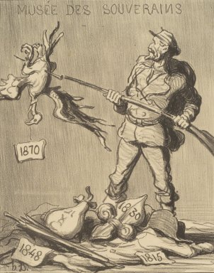 Honoré Daumier (French, 1808-1879). <em>Whose Turn Is It? (A qui le tour?)</em>, 1870. Lithograph on wove paper, Image: 9 x 7 1/16 in. (22.9 x 17.9 cm). Brooklyn Museum, By exchange, 38.176 (Photo: Brooklyn Museum, 38.176.jpg)