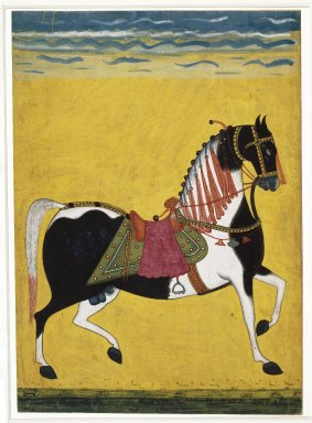 Indian. <em>Portrait of a Stallion</em>, mid-19th century. Opaque watercolor, silver, and gold on paper, sheet: 11 1/8 x 8 in.  (28.3 x 20.3 cm). Brooklyn Museum, Brooklyn Museum Collection, 38.17 (Photo: Brooklyn Museum, 38.17_IMLS_SL2.jpg)