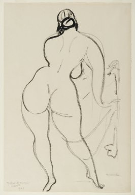 Gaston Lachaise (American, born France, 1882-1935). <em>Back of a Nude Woman</em>, 1929. Black ink on cream, medium-weight, slightly textured wove paper, Sheet: 17 7/8 x 12 in. (45.4 x 30.5 cm). Brooklyn Museum, Gift of Carl Zigrosser, 38.183. © artist or artist's estate (Photo: Brooklyn Museum, 38.183_PS2.jpg)