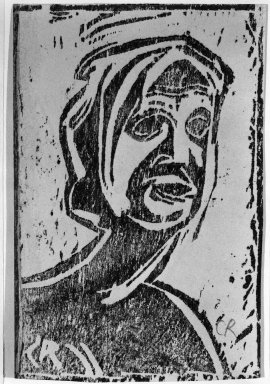 Christian Rohlfs (German, 1849-1939). <em>Small Head of Girl (Kleiner Mädchenkopf)</em>, ca. 1912. Woodcut on glossy wove paper, Image: 5 13/16 x 3 7/8 in. (14.8 x 9.8 cm). Brooklyn Museum, By exchange, 38.198 (Photo: Brooklyn Museum, 38.198_bw_IMLS.jpg)