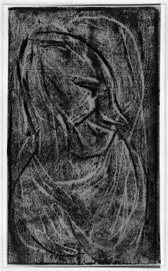 Christian Rohlfs (German, 1849-1939). <em>Head II (Kopf II)</em>, n.d. Color woodcut in dark blue on wove paper, Image: 7 x 5 15/16 in. (17.8 x 15.1 cm). Brooklyn Museum, By exchange, 38.199. © artist or artist's estate (Photo: Brooklyn Museum, 38.199_bw_IMLS.jpg)
