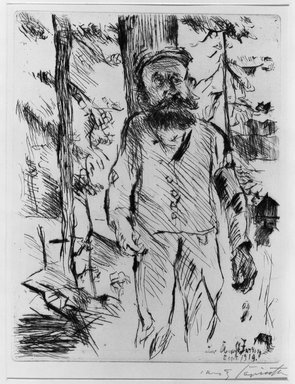 Lovis Corinth (German, 1858-1925). <em>The Farmhand (Der Knecht)</em>, 1919. Etching and drypoint on laid paper, Image (Plate): 12 1/2 x 9 3/4 in. (31.8 x 24.8 cm). Brooklyn Museum, By exchange, 38.200 (Photo: Brooklyn Museum, 38.200_acetate_bw.jpg)