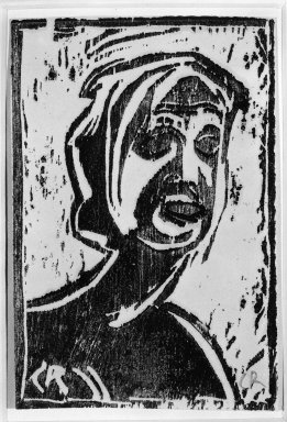 Christian Rohlfs (German, 1849-1939). <em>Small Head of Girl (Kleiner Mädchenkopf)</em>, ca. 1912. Woodcut on glossy paper from a magazine, Image: 6 x 4 in. (15.2 x 10.2 cm). Brooklyn Museum, By exchange, 38.201 (Photo: Brooklyn Museum, 38.201_bw_IMLS.jpg)