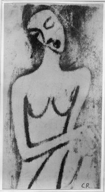 Christian Rohlfs (German, 1849-1939). <em>Crouching Female Nude (Hockender weiblicher Akt)</em>, ca. 1913. Color woodcut in bistre, rubbed with pumice stone, on heavy wove paper, Image: 12 9/16 x 6 3/4 in. (31.9 x 17.1 cm). Brooklyn Museum, By exchange, 38.211 (Photo: Brooklyn Museum, 38.211_bw_IMLS.jpg)