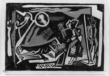 Louis Schanker (American, 1903-1981). <em>Dictator's Dream</em>, 1937. Woodcut on paper, sheet: 10 3/16 x 14 5/16 in. (25.9 x 36.4 cm). Brooklyn Museum, Dick S. Ramsay Fund, 38.216 (Photo: Brooklyn Museum, 38.216_view1_acetate_bw.jpg)