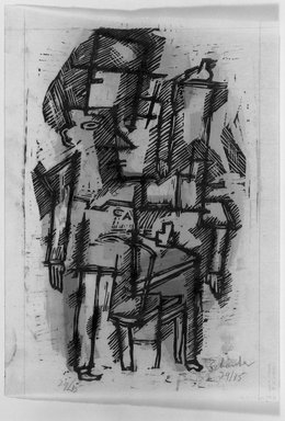 Louis Schanker (American, 1903-1981). <em>(Abstraction) Cafe</em>, 1938. Woodcut on paper, sheet: 9 7/8 x 7 in. (25.1 x 17.8 cm). Brooklyn Museum, Dick S. Ramsay Fund, 38.217 (Photo: Brooklyn Museum, 38.217_acetate_bw.jpg)