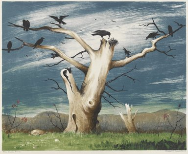 Russell T. Limbach (American, 1904-1971). <em>The Crow Tree</em>, 1938. Color lithograph on white wove paper, Sheet: 17 7/8 x 20 3/8 in. (45.4 x 51.8 cm). Brooklyn Museum, Dick S. Ramsay Fund, 38.224 (Photo: Brooklyn Museum, 38.224_PS4.jpg)