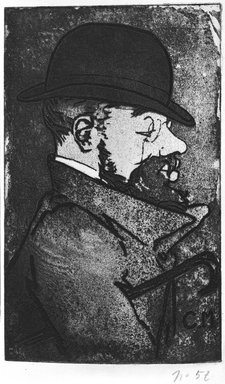 Charles Maurin (French, 1856-1914). <em>Portrait of Toulouse-Lautrec</em>, 1893. Aquatint on wove paper, 9 x 8 7/8 in. (22.8 x 22.6 cm). Brooklyn Museum, Charles Stewart Smith Memorial Fund, 38.338 (Photo: Brooklyn Museum, 38.338_bw.jpg)