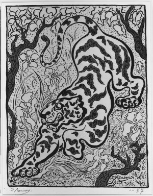 Paul Ranson (French, 1864-1909). <em>Tigre dans les jungles (A tiger in the jungle)</em>, 1893. Lithograph on wove paper, 14 9/16 x 15 1/16 in. (37 x 38.2 cm). Brooklyn Museum, Charles Stewart Smith Memorial Fund, 38.339 (Photo: Brooklyn Museum, 38.339_acetate_bw.jpg)