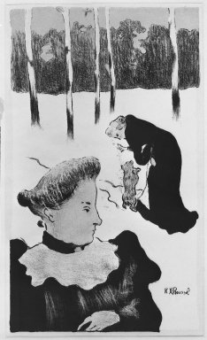 Ker-Xavier Roussel (French, 1867-1944). <em>In the Snow (Dans la neige)</em>, 1893. Lithograph on wove paper, 11 3/4 x 16 1/4 in. (29.8 x 41.2 cm). Brooklyn Museum, Charles Stewart Smith Memorial Fund, 38.340 (Photo: Brooklyn Museum, 38.340_acetate_bw.jpg)