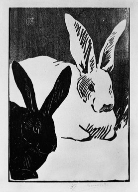 Henri-Charles Guérard (French, 1846-1897). <em>Les Lapins</em>, 1893. Woodcut on heavy wove paper, 11 13/16 x 9 1/16 in. (30 x 23 cm). Brooklyn Museum, Charles Stewart Smith Memorial Fund, 38.347 (Photo: Brooklyn Museum, 38.347_bw.jpg)